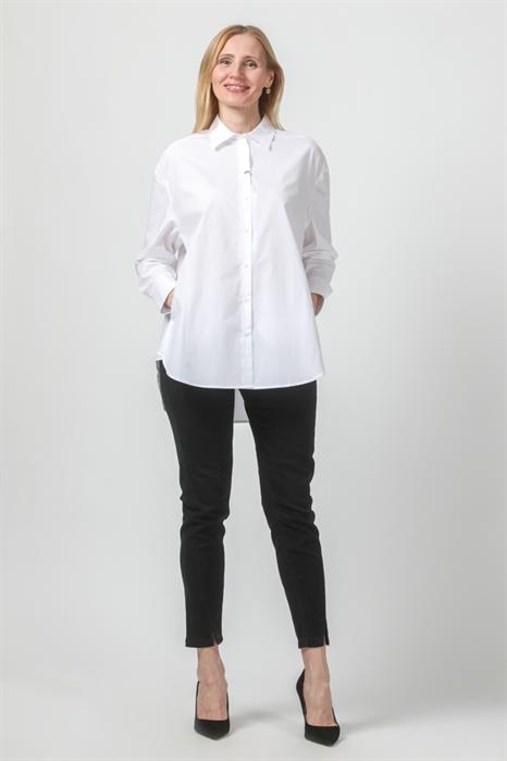 LUISA CERANO - Рубашка белая удлинённая с боковыми карманами