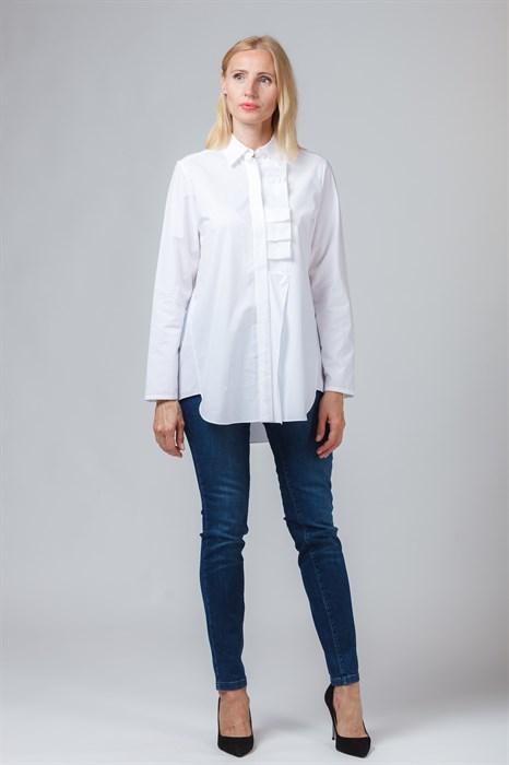 LUISA CERANO - Блузка белая с рюшей - фото 5872