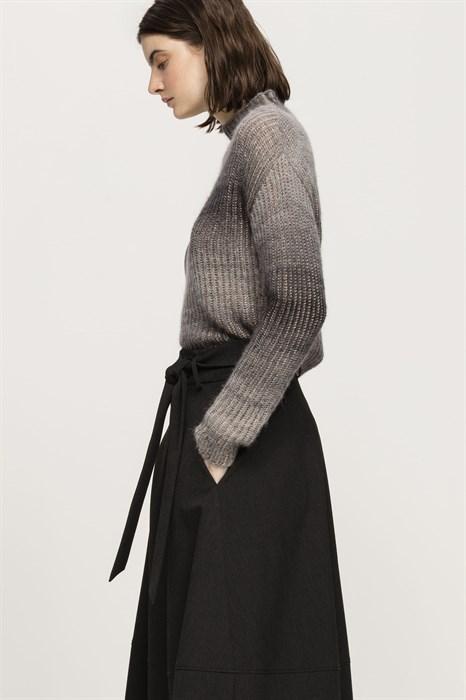 LUISA CERANO - Свитер серый меланж со стойкой - фото 6696