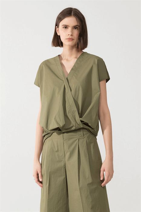 LUISA CERANO - Блузка-рубашка оливковая комбинированная