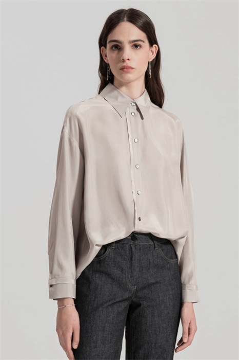 LUISA CERANO - Блузка-рубашка шёлковая серая