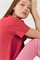 LUISA CERANO - Джемпер оверсайз малиновый с коротким рукавом - фото 7012
